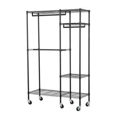 48 in. W x 74 in. H x 18 in. D 4-Shelf Black Steel Garment Rack with Wheels