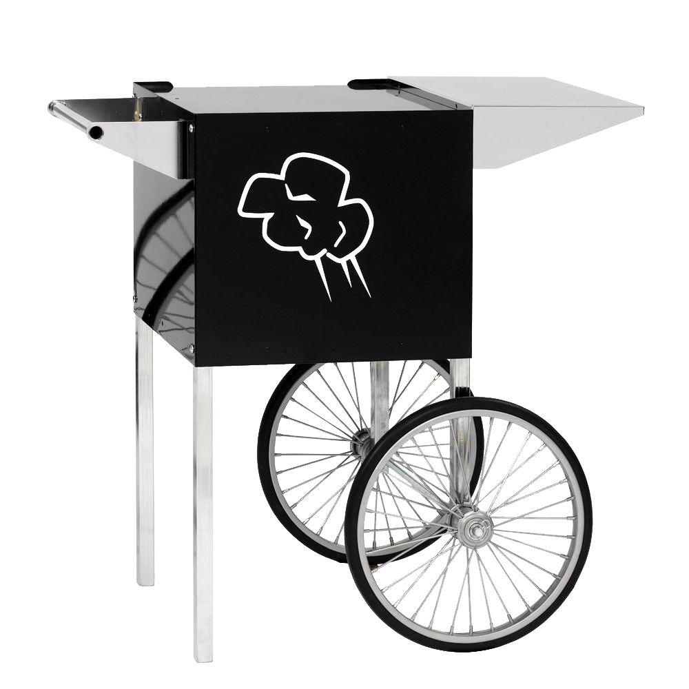Paragon 6 oz. Popcorn Cart, Black/Gloss Carts provide easier access, better merchandising and great mobility. The sturdy all steel construction has a chip resistant coating. Also features convenient built-in storage space and breaks down easily for storage and transportation. Color: Black/Gloss.