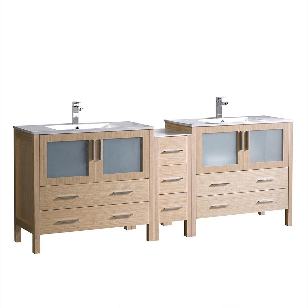 48 Inch Vanities - Light Brown - Double Sink - Vanities with Tops ...