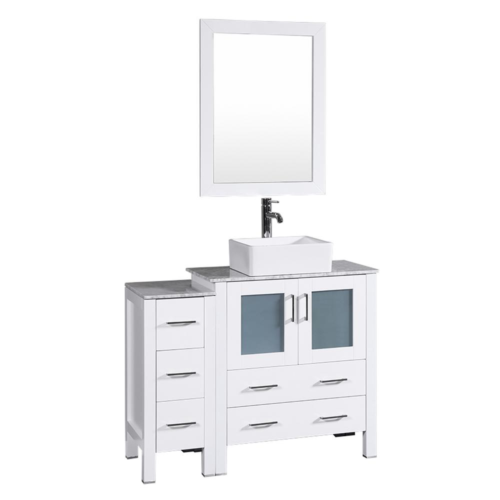Bosconi 42 in. W Single Bath Vanity in White with Carrara Marble Vanity Top with White Basin and Mirror