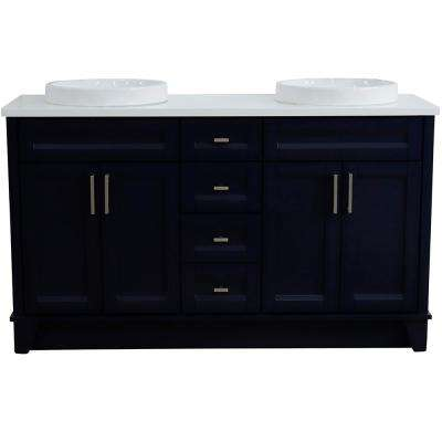 61 in. W x 22 in. D Double Bath Vanity in Blue with Quartz Vanity Top in White with White Round Basins