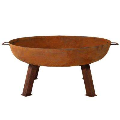 Rustic 34 in. x 15 in. Round Large Cast Iron Wood-Burning Fire Pit Bowl