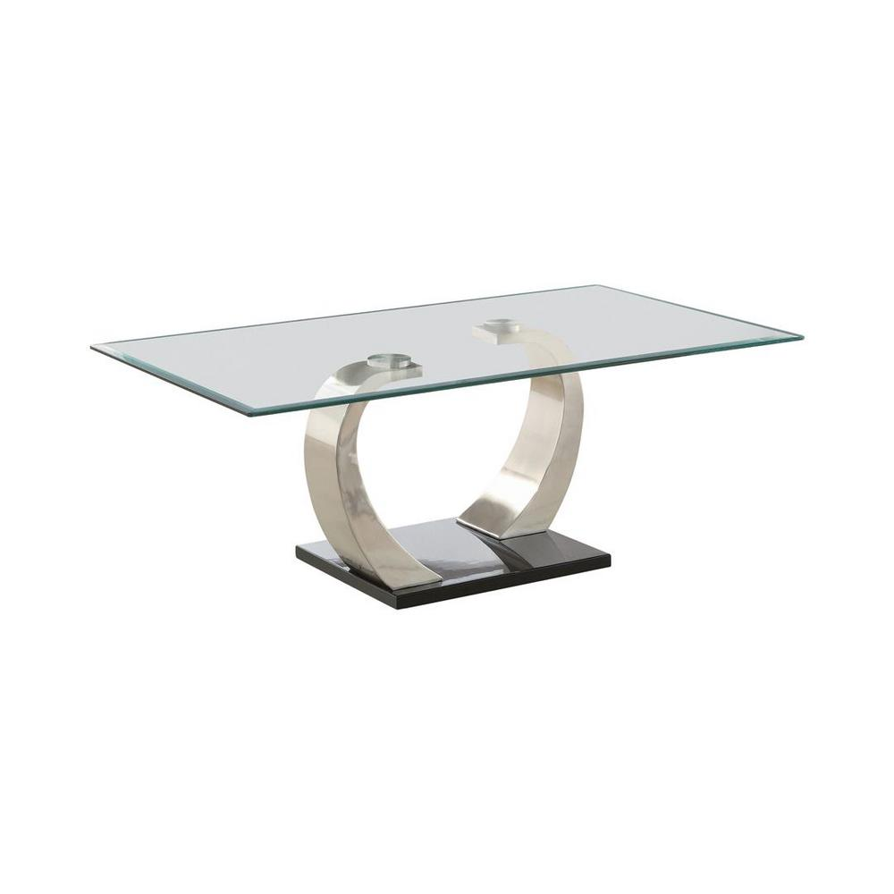 Coaster Home Furnishings Shearwater 50 in. Chrome/Clear Large Rectangle Glass Coffee Table with Pedestal Base, Grey Coaster Home Furnishings Shearwater 50 in. Chrome/Clear Large Rectangle Glass Coffee Table with Pedestal Base, Grey.
