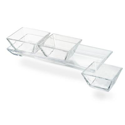 Cortland 3-Section Glass Tray
