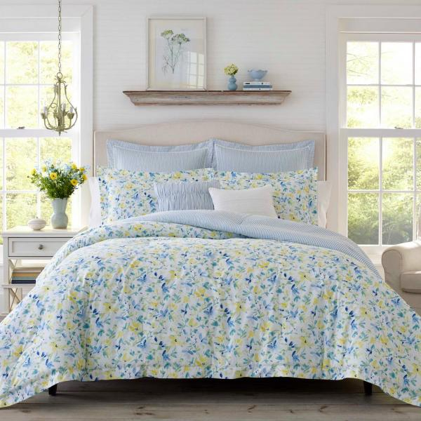 Nora Bright Blue Cotton 3-Piece Comforter Set, King
