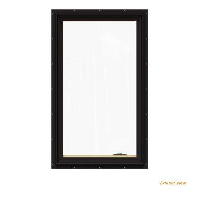 24.75 in. x 48.75 in. W-2500 Series Black Painted Clad Wood Right-Handed Casement Window with BetterVue Mesh Screen