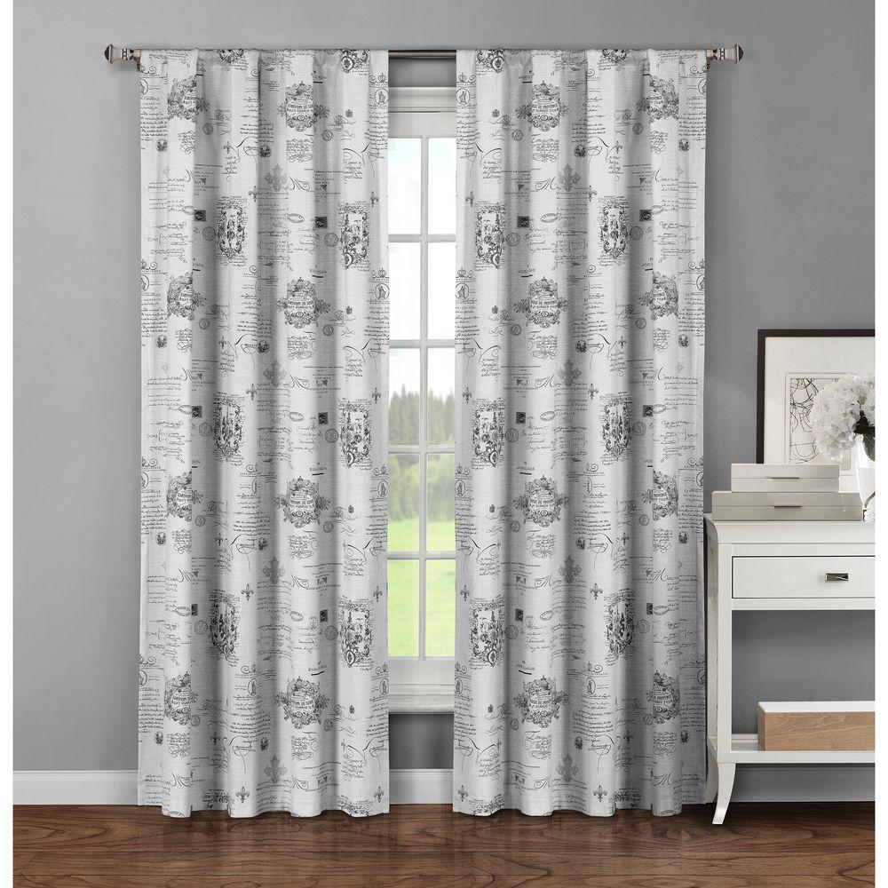 Window Elements Semi-Opaque Fleur De Lis Printed Cotton Extra Wide 96 inch L Rod Pocket Curtain Panel Pair, Light Grey... by Window Elements