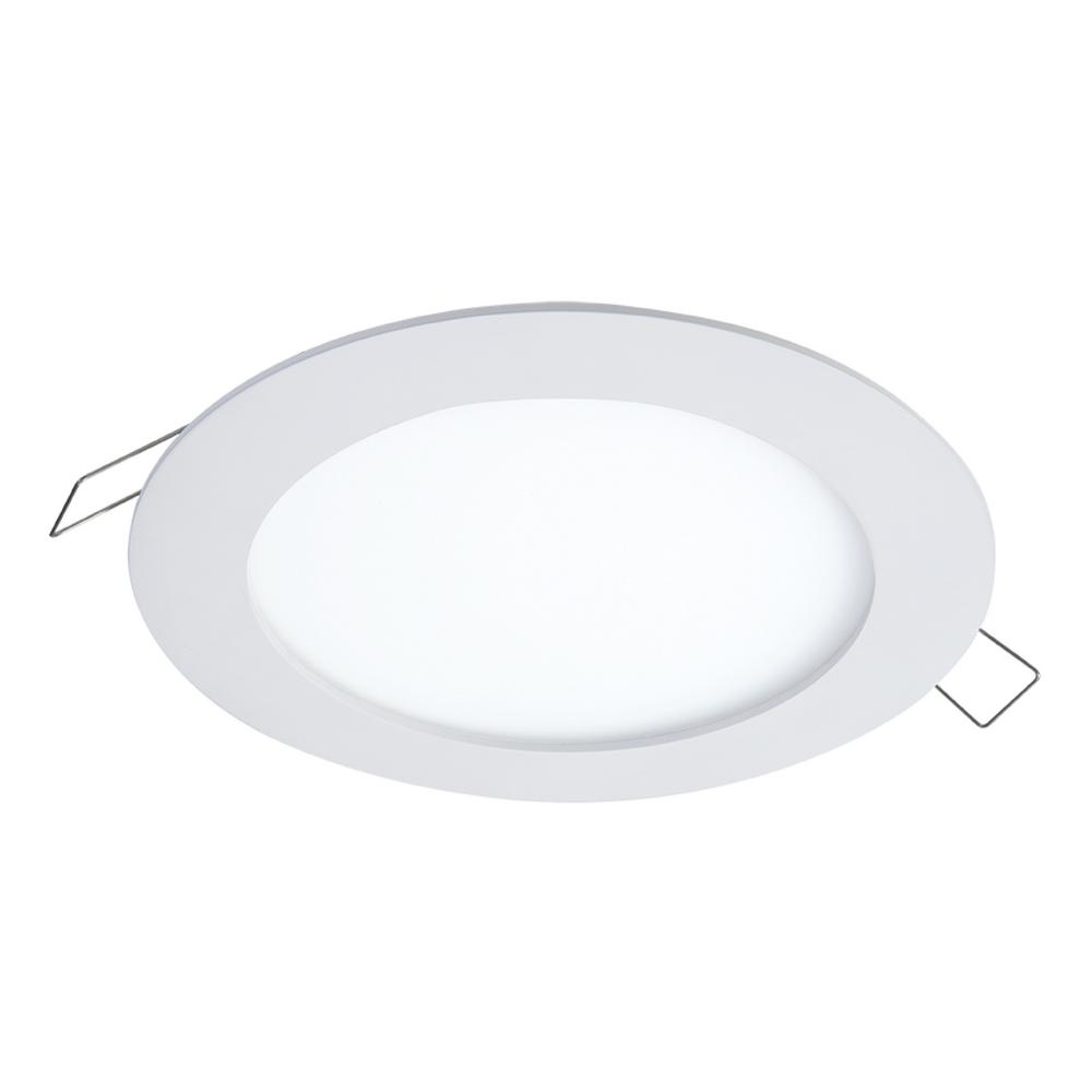 Halo SMD-DM 6.2 in. Lens White Round Integrated LED Surface Mount Recessed Downlight Trim, 3000K Soft White (No Can Needed)