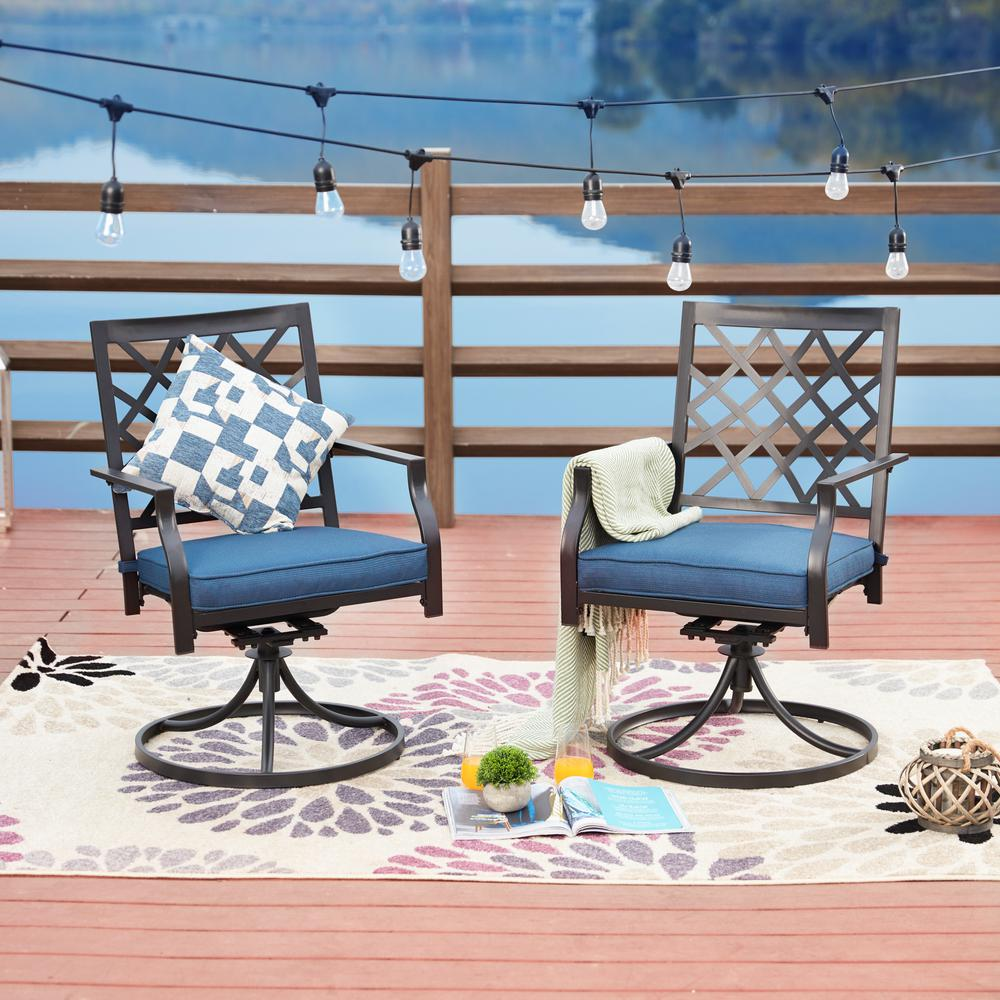 Fabulous Patio Festival Swivel Rocking Metal Outdoor Lounge Chair With Blue Cushions Machost Co Dining Chair Design Ideas Machostcouk