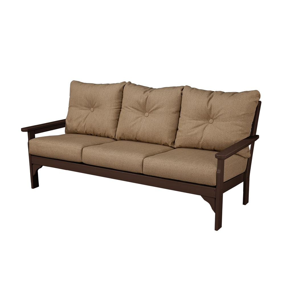 Vineyard Mahogany Plastic Patio Outdoor Sofa with Sunbrella Sesame Cushions