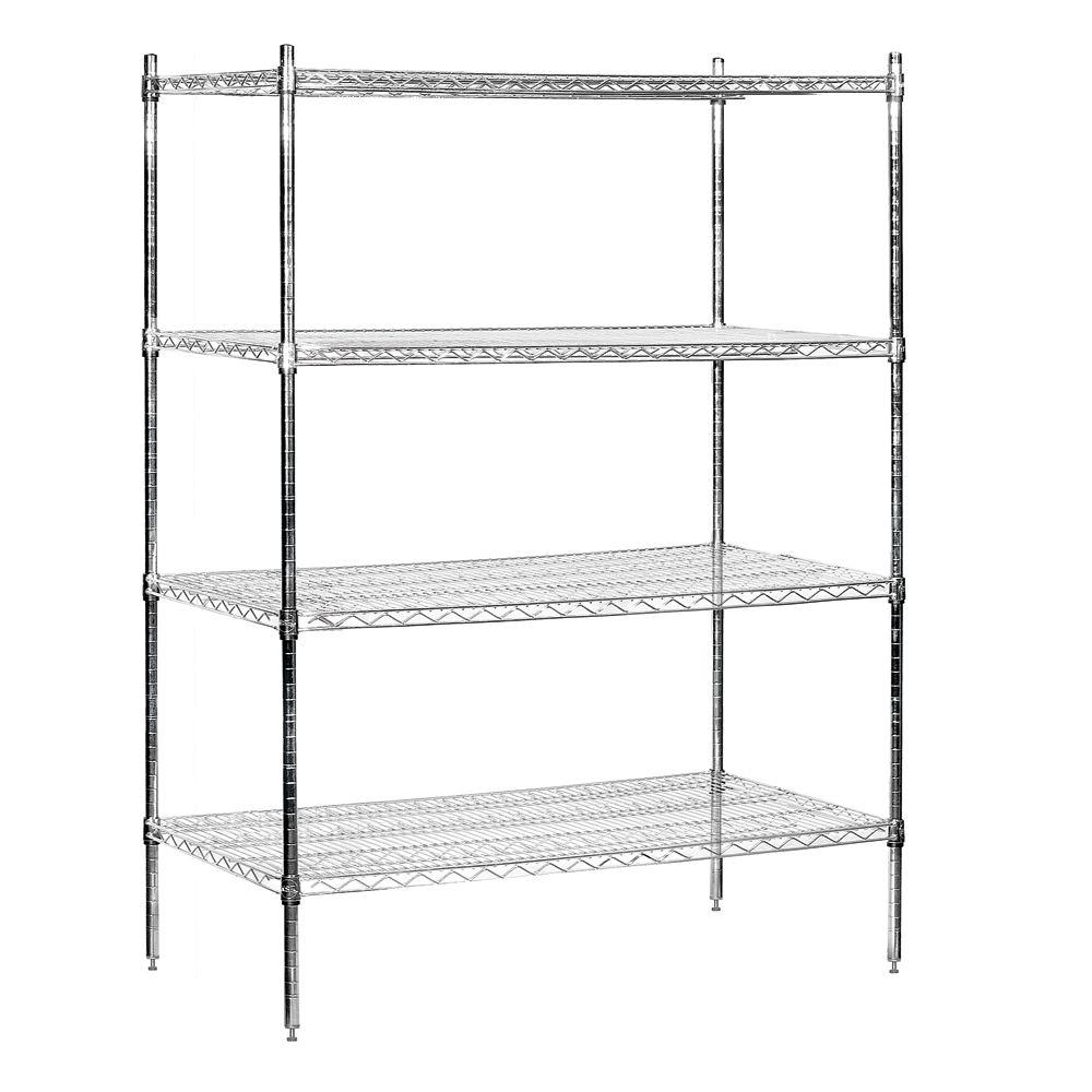 Salsbury Industries 9600S Series 48 in. W x 74 in. H x 24 in. D Industrial Grade Welded Wire Stationary Wire Shelving in Chrome
