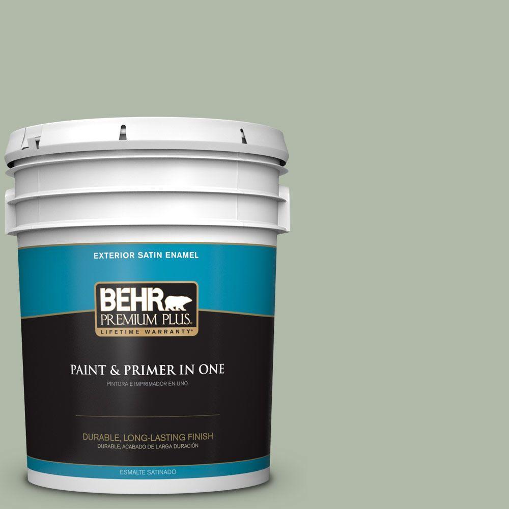 BEHR Premium Plus 5-gal. #N390-3 Jojoba Satin Enamel Exterior Paint