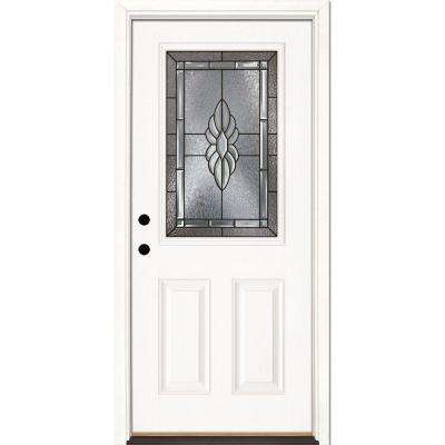 37.5 in. x 81.625 in. Sapphire Patina 1/2 Lite Unfinished Smooth Right-Hand Inswing Fiberglass Prehung Front Door