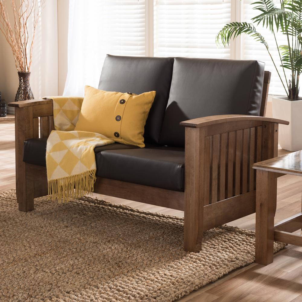 Charlotte Mid-Century Dark Brown Faux Leather Upholstered Loveseat