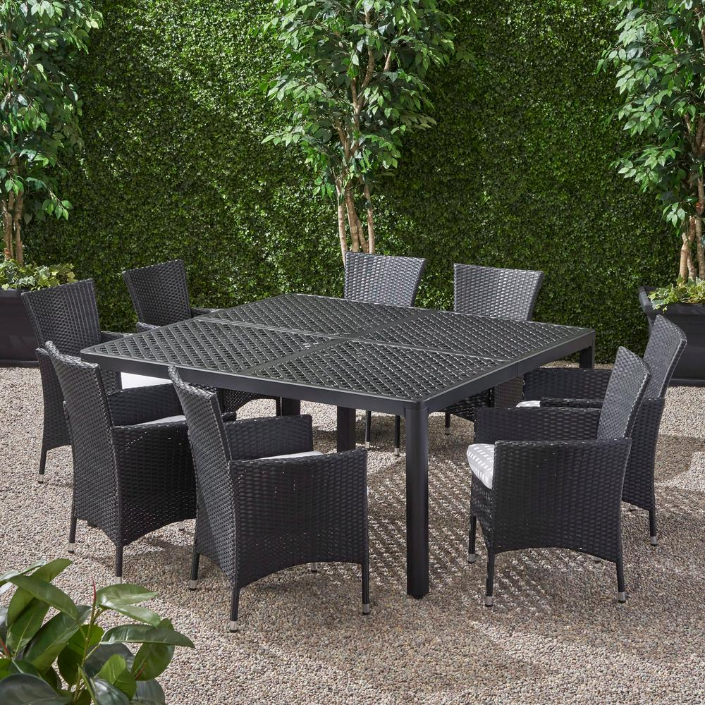 Noble House Brevard Black 9 Piece Aluminum And Wicker Square Table Outdoor Dining Set 68255 The Home Depot