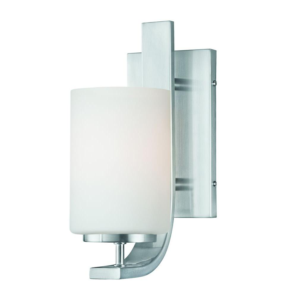 Thomas Lighting Pendenza 1 Light Brushed Nickel Wall Sconce Tn0005217 The Home Depot