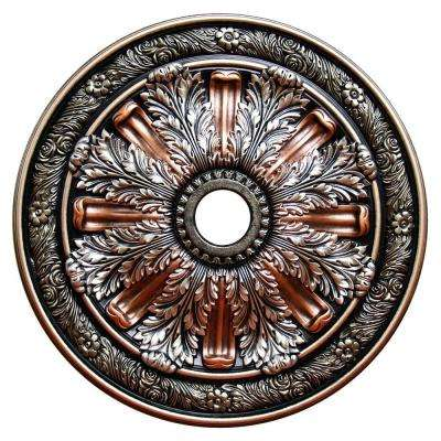30 in. Polyurethane Hand Painted Sublime Inspiration, Silver, Ivy, Copper Penny and Warm Silver Ceiling Medallion