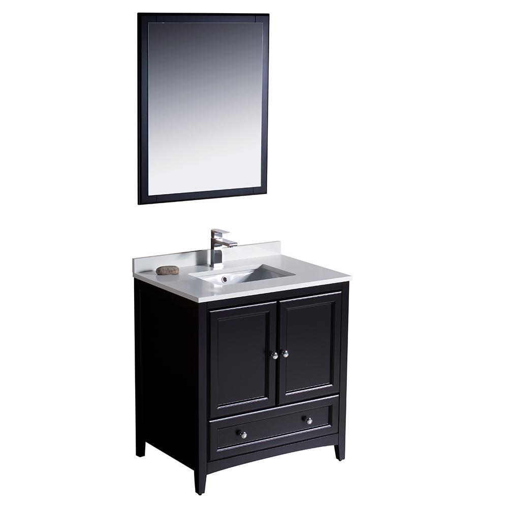 Fresca Warwick 30 in. Bathroom Vanity in Espresso with Quartz Stone Vanity Top in White with White Basin and Mirror
