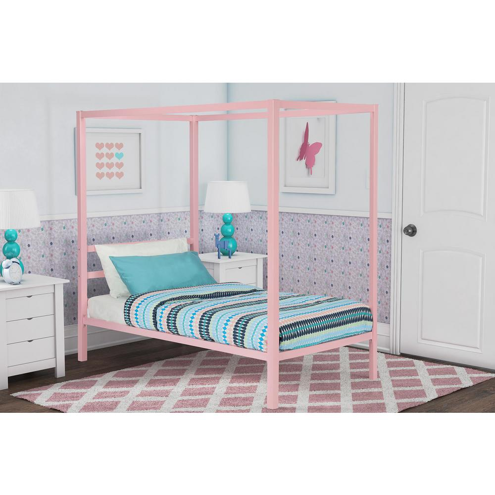 Metal Canopy Twin Size Bed Frame Pink Modern