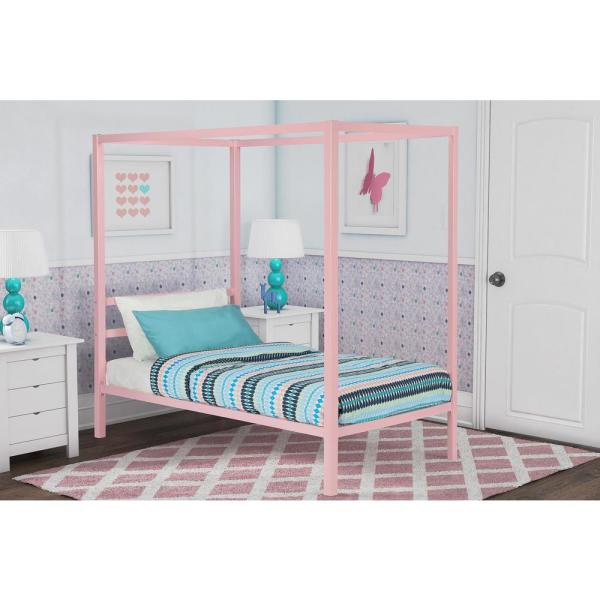 Dhp Modern Metal Canopy Twin Size Bed Frame In Pink