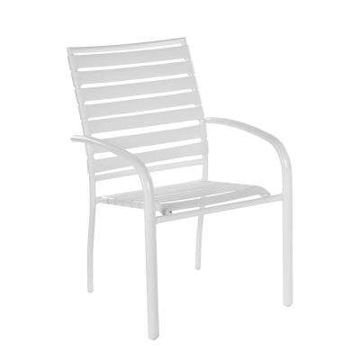 Admirable Commercial Aluminum Outdoor Dining Chair In White 4 Pack Interior Design Ideas Tzicisoteloinfo