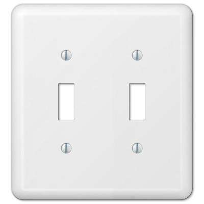 Declan 2 Gang Toggle Steel Wall Plate - White