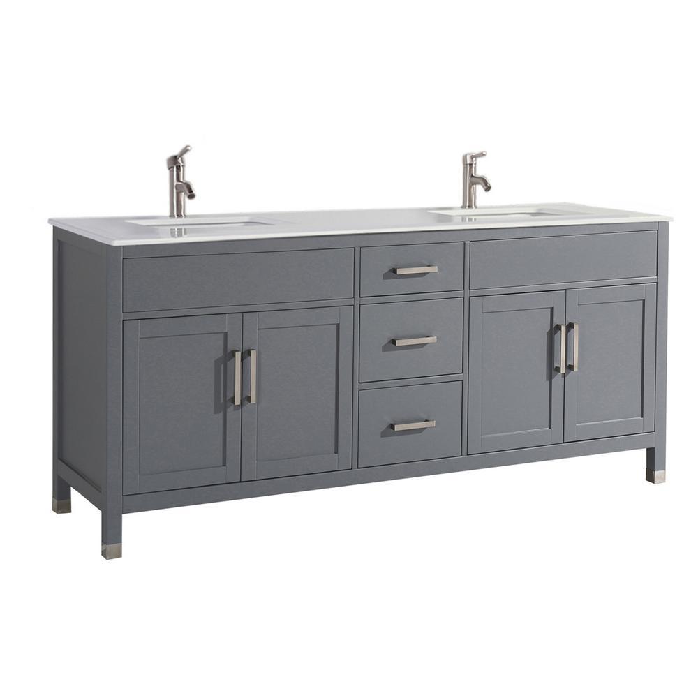 MTD Vanities Reisa 84 in. W x 22 in. D x 36 in. H Double Vanity in Grey with Microstone Vanity Top in White with White Basin