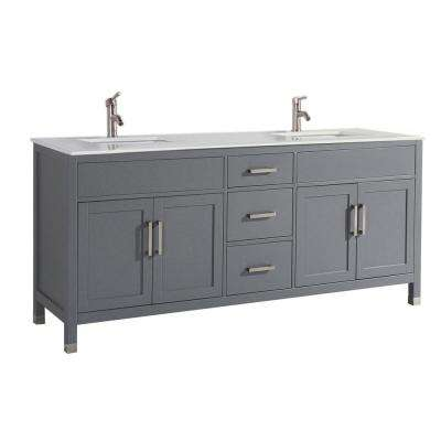 Reisa 84 in. W x 22 in. D x 36 in. H Double Vanity in Grey with Microstone Vanity Top in White with White Basin