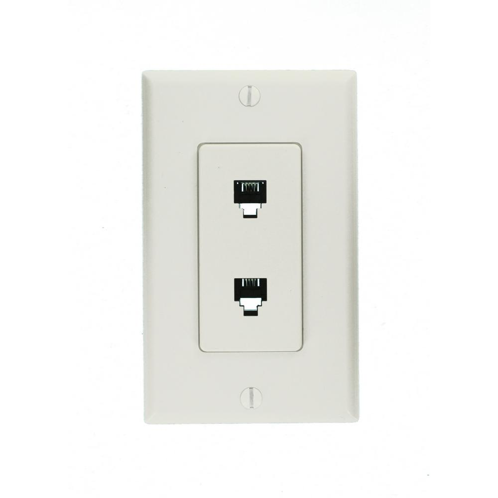 Leviton Decora 6p4c Telephone Wall Jack Assembly In White