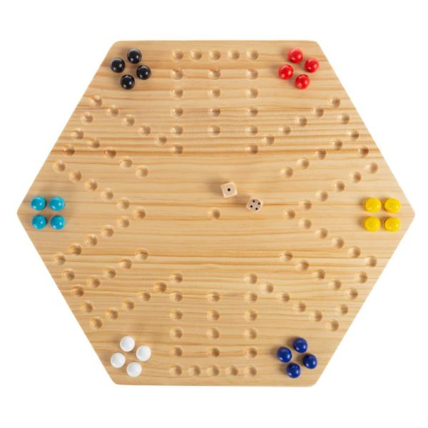 Hey! Play! Classic Wooden Marble Game Set (6-Players) HW3500090