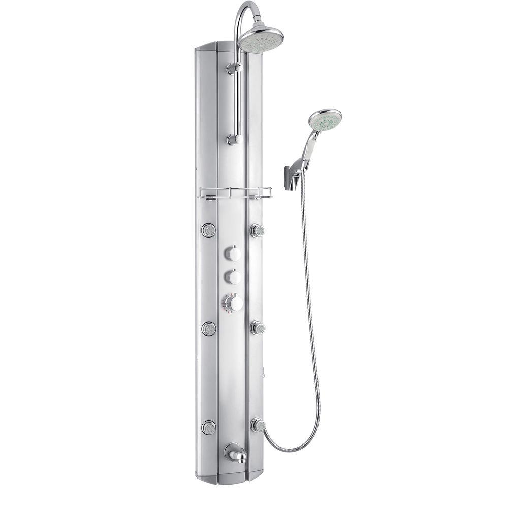 DreamLine 63 in. Hydrotherapy 6-Jet Shower Panel System in Satin (Valve Included)