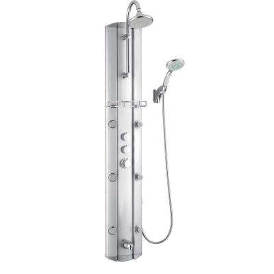 63 in. Hydrotherapy 6-Jet Shower Panel System in Satin (Valve Included)