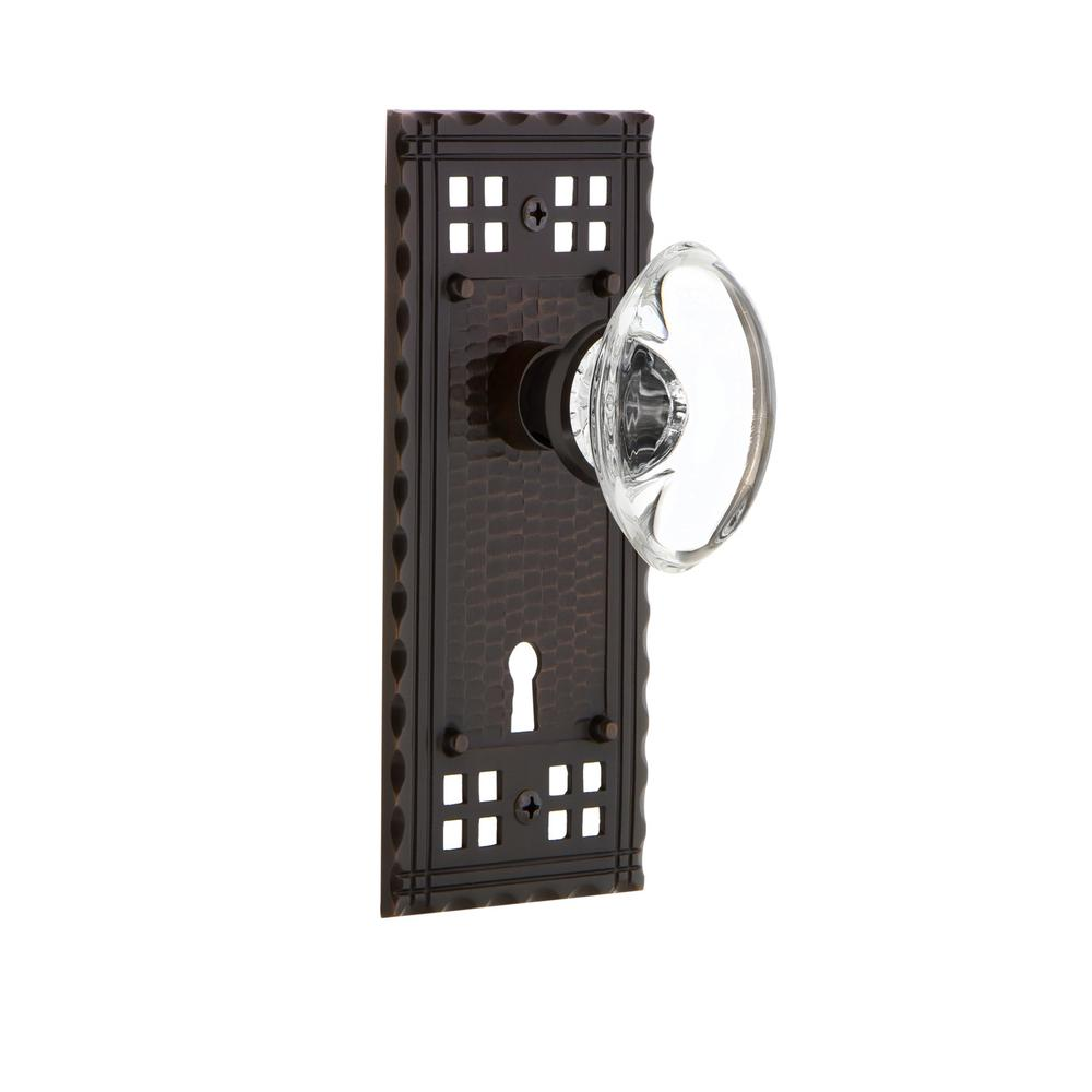 Craftsman Plate with Keyhole 2-3/4 in. Backset Timeless Bronze Privacy Oval Clear Crystal Glass Door Knob