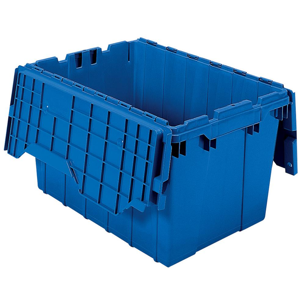 Akro Mils 12 Gal Attached Lid Container in Blue Pack of 6