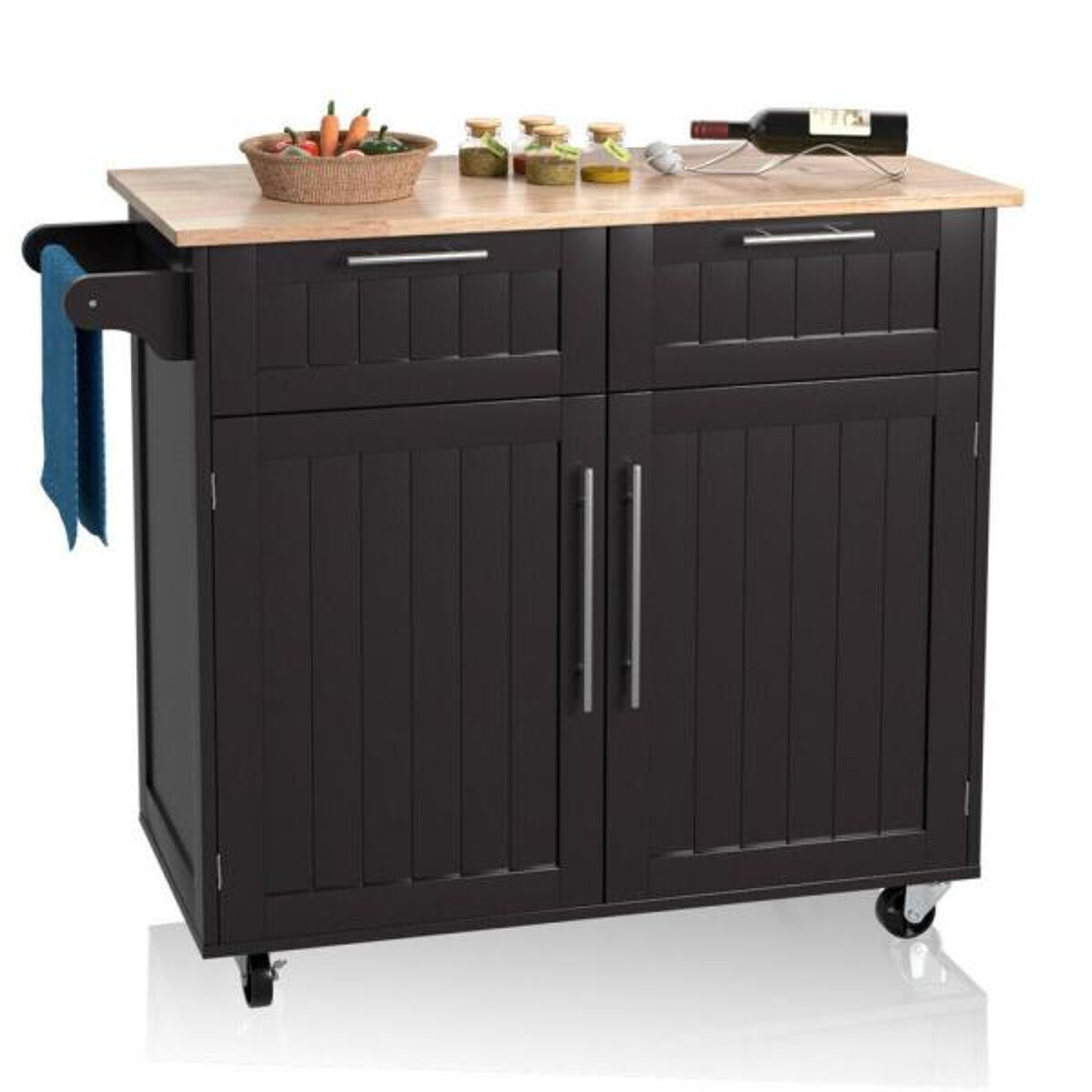 Espresso Rolling Kitchen Cart Island Heavy Duty Storage Trolley Cabinet Utility
