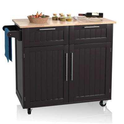 Espresso Rolling Kitchen Cart Island Heavy Duty Storage Trolley Cabinet Utility