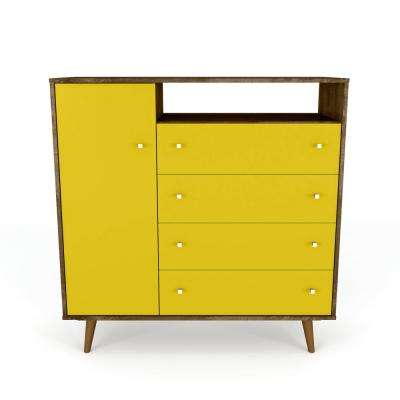 Liberty 42.32 in. 4-Drawer Rustic Brown and Yellow Sideboard