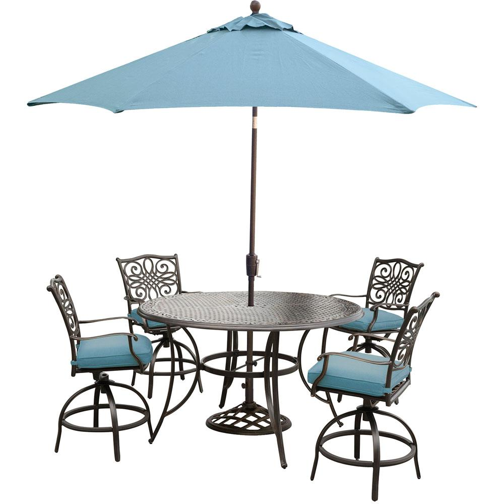 Hanover Traditions 5 Piece Aluminum Round Outdoor High Dining Set With  Swivel Chairs, Umbrella