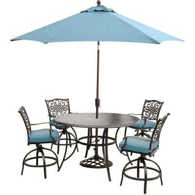 Traditions 5-Piece Aluminum Round Outdoor High Dining Set with Swivel Chairs, Umbrella and Base with Blue Cushions