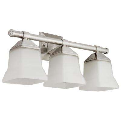 20 in. 3-Light Brushed Nickel Bath Vanity Light Fixture with Bell Shape Frosted Glass Shade