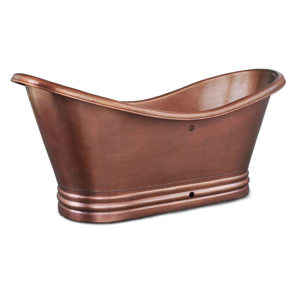 SINKOLOGY Euclid 6 ft. Handmade Pure Solid Copper Freestanding Flatbottom Double Slipper Bathtub in Antique Copper with Overflow