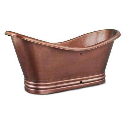 Euclid 6 ft. Handmade Pure Solid Copper Freestanding Flatbottom Double Slipper Bathtub in Antique Copper with Overflow