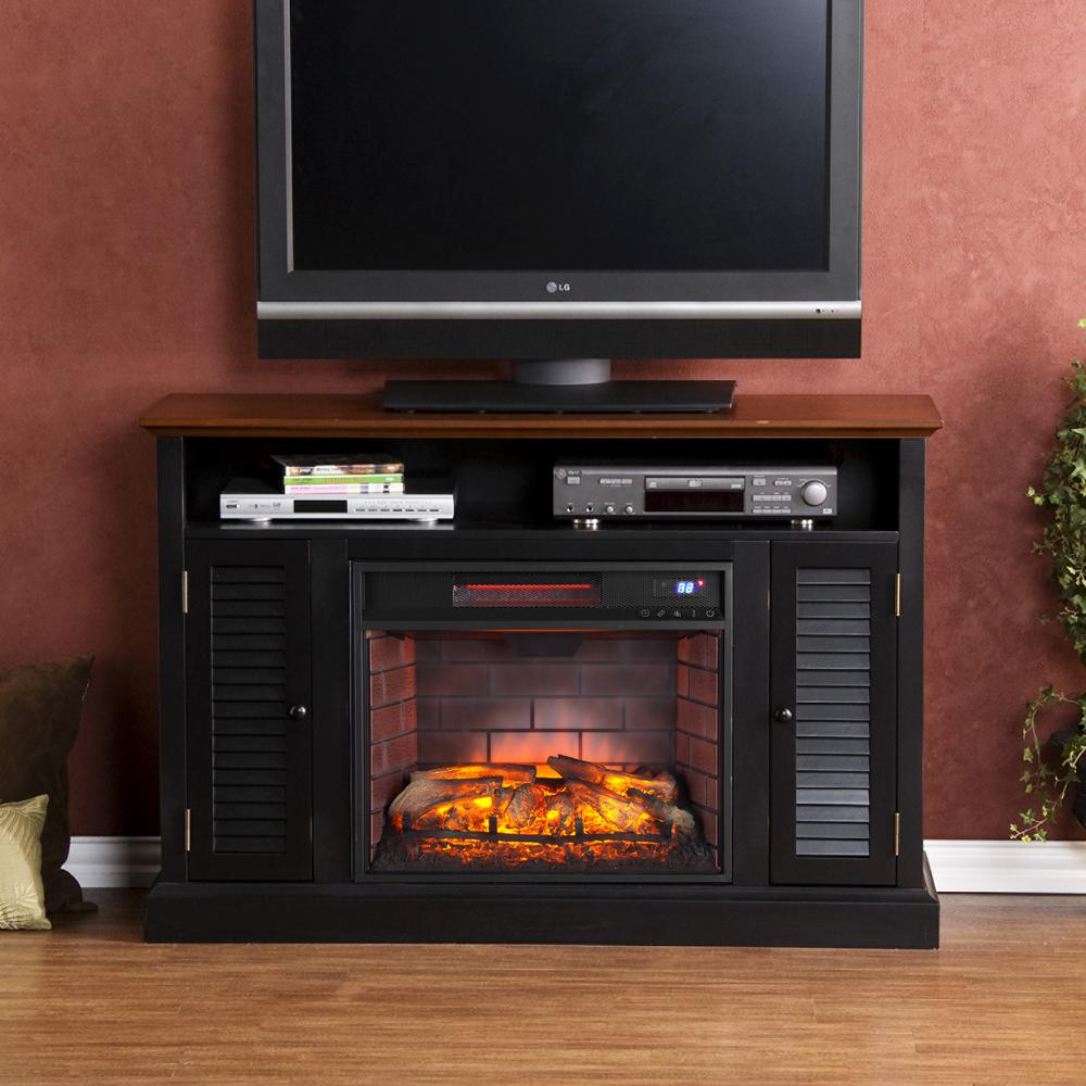 Ontario 48 in. W Infrared Media Electric Fireplace in Black with