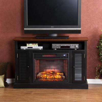 Ontario 48 in. W Infrared Media Electric Fireplace in Black with Warm Walnut
