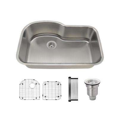 All-in-One Undermount Stainless Steel 31-3/8 in. Single Bowl Kitchen Sink