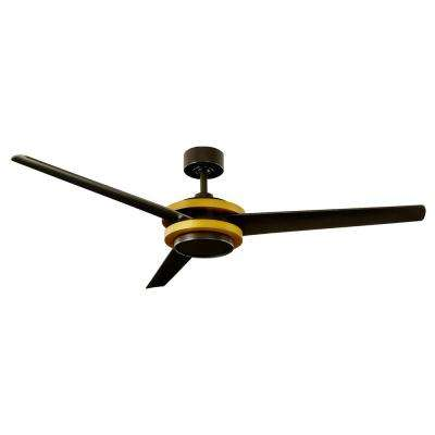 Venus 60 in. LED Indoor/Outdoor Aged Brass  3-Blade Smart Ceiling Fan with 2700K Light Kit and Wall Control