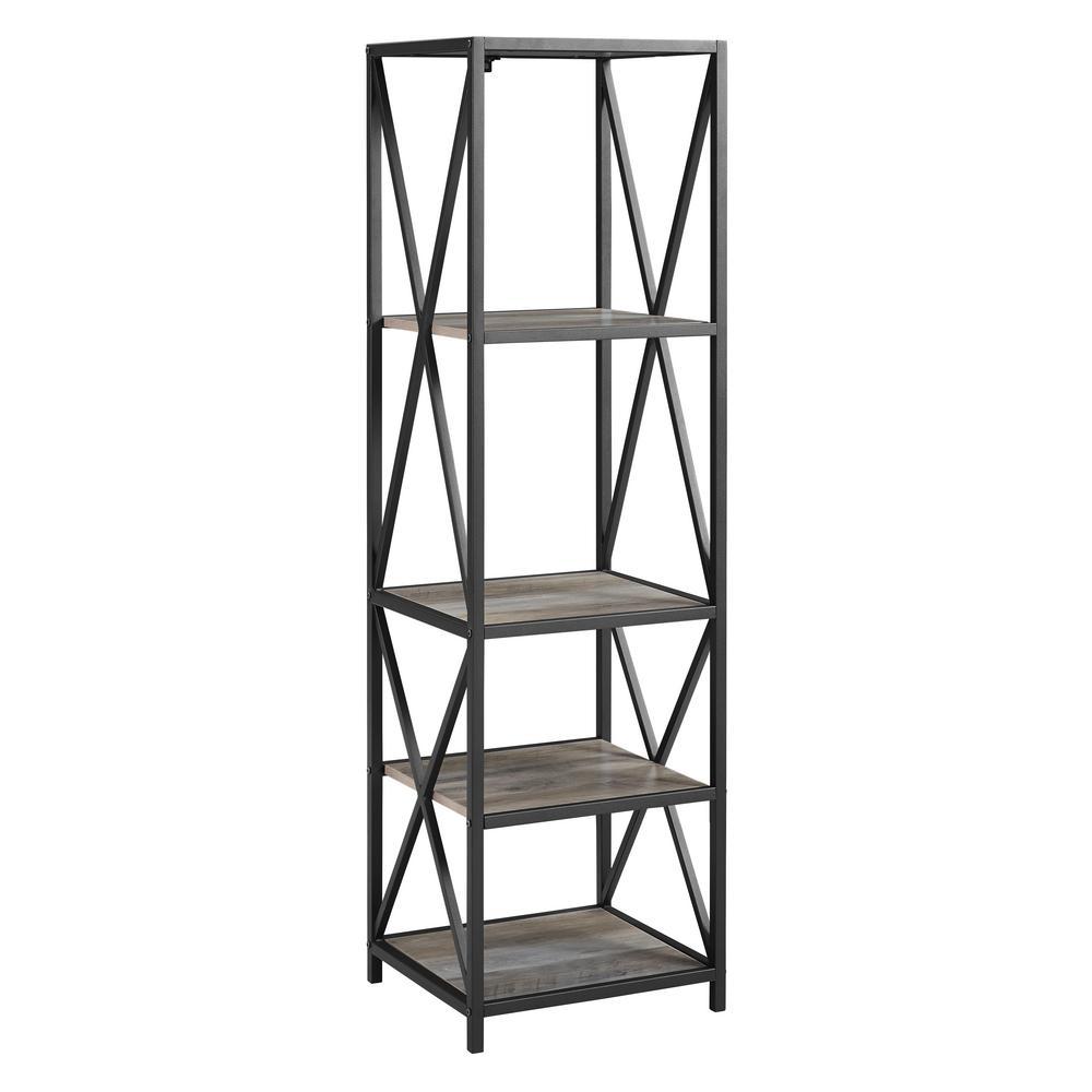 Grey Wash Metal X Tower Wood Shelves