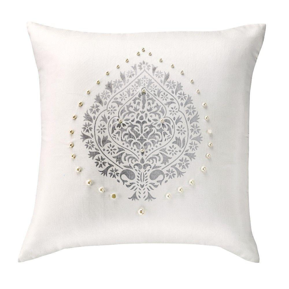 Home Decorators Collection 18 in. Damask White Faux Pearl Embellished Square Pillow