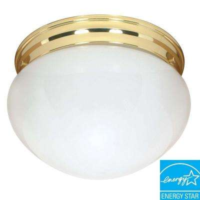 2-Light Polished Brass Large Mushroom Flushmount