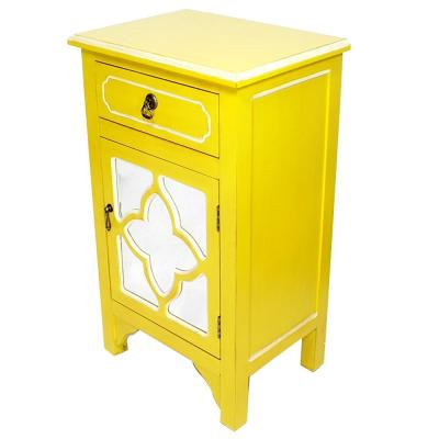 Shelly Assembled 18 in. x 18 in. x 13 in. Yellow Wood Glass Accent Storage Cabinet with a Drawer and a Door